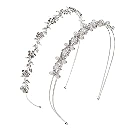 2 Pieces Wedding Party Women's Faux Pearl Rhinestones Headband Flower and Leaves Crown Hair Band for Bride Bridesmaids