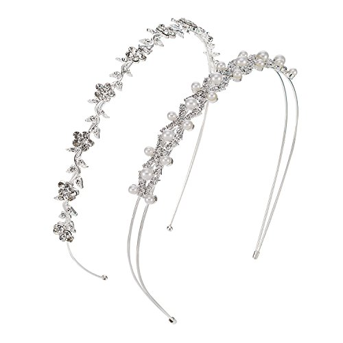 Pangda 2 Pieces Wedding Party Women's Faux Pearl Rhinestones Headband Flower and Leaves Crown Hair Band for Bride Bridesmaids (Piece 2 Headband)