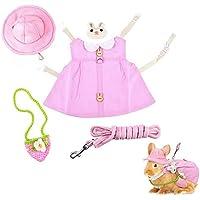 PUBAMALL Chaleco con arnés para Animales pequeños, Vestido de Conejo para Mascotas con Sombrero para el Sol, Mini Bolso…
