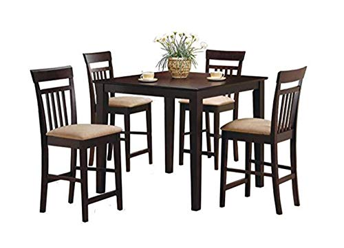 5-piece Counter Height Dining Set Cappuccino and Tan (Set Dining Hayden)