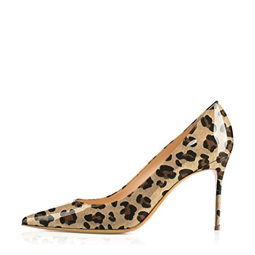 FSJ Women Sexy Leopard Print Pumps Heels Pointed Toe Basic Slip On Office Dress Shoes Size 4-15 US 8.5 Cm VZhr3bI5