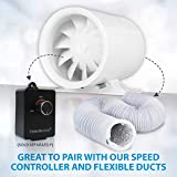 "TerraBloom 6"" Silent Inline Duct Fan, 26W, 188"