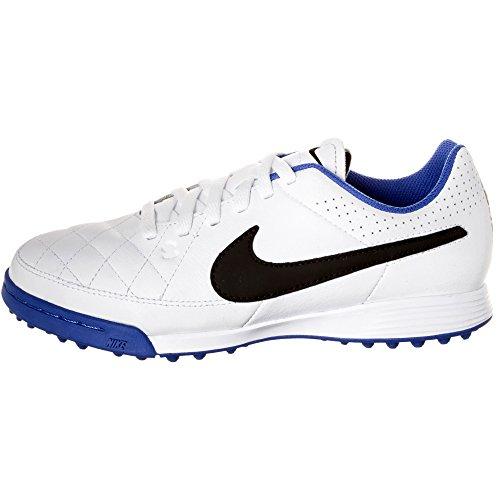 Nike Schuhe Kinder Jr tiempo genio leather TF White/black-treasure blue