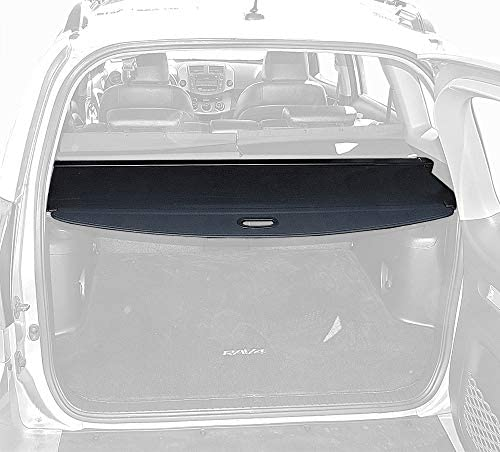 Tyger Auto Black Retractable SUV Rear Trunk Cargo Cover Shield Compatible with 06-12 Toyota Rav4 (Gives Your Luggage in SUV Rear Cargo Trunk Anti-Theft Visor Shield Security Shade & UV Protection!)