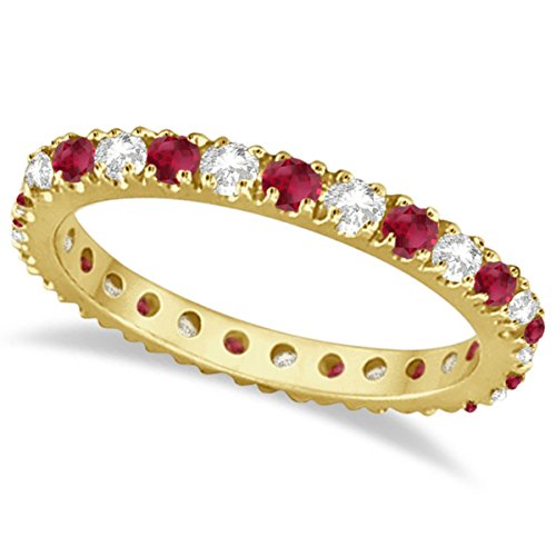 Diamond and Ruby Eternity Band Stackable Ring For Women 14K Yellow Gold (Ruby Diamond Eternity Bands)