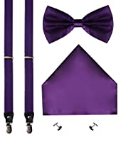 CEAJOO Mens Suspenders Pre Tied Bow Tie Cufflink and Pocket Hanky Set