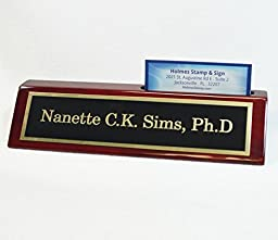 Personalized Business Desk Name Plate with Card Holder - Includes Engraving