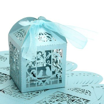 10pcs Pierced Birdcage Candy Sweet Package Gift Box Wedding Party Cake Chocolate Box - Gift Packaging Supplies Gift Boxes - (Blue)
