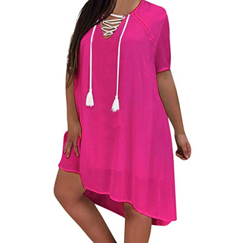 Women Plus Size Chiffon Tunic Dress, V-Neck Criss Cross Drawstring Irregular Double Layer Sundress Dresses (Large, Hot Pink)