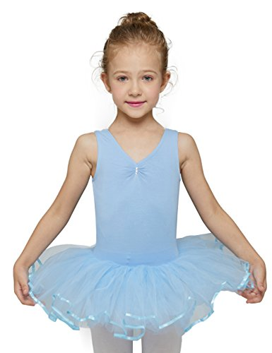 Ballet Leotard with Tutu for Big Girls by Mndmd (Blue, Age 12-14, Tag 150) -