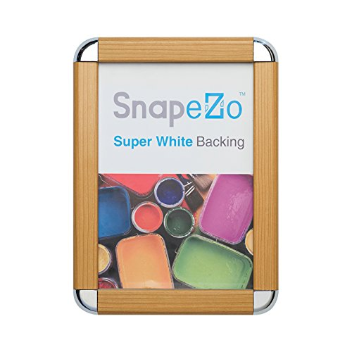 SnapeZo Poster Frame 22x28 Inches, Light Wood Effect 1.25 Inch Aluminum Profile, Front-Loading Snap Frame, Wall Mounting, Professional - 22 X Light 28