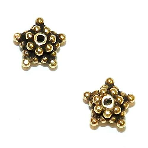 Antiqued Gold Vermeil 7mm Dotted Star Rondelle Metal Spacer Beads 8pc #ID-163