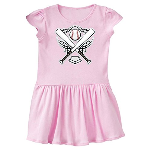 inktastic Baseball Player Team Sports Logo Infant Dress 6 Months Pink 10b3e (Player Team Logo)