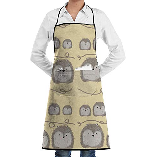 NOLIEE Cartoon Hedgehogs Family Adjustable Kitchen Chef Apron with Pocket and Extra Long Ties