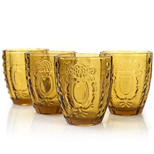 Drinking Glasses Gift, Premium Heavy Vintage Embossed Romantic Water Glassware, 12oz Lead Free Amber Glass Sets of 4 Tumbler Christmas Holiday Decor Gift
