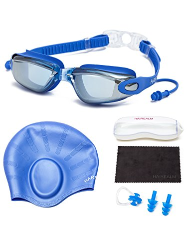 HAIREALM Myopia Swimming Goggles(Prescription 0-8.0 Diopters) +Swimming cap+Case+Nose Clip and Ear Plugs+Dry Cloth, No Leaking Anti-Fog UV Protection for Adult Men Women Youth Kids (Blue - Swimming Prescription Best Goggles