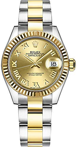 (Women's Rolex Lady-Datejust 28 Champagne Roman Numeral Dial Watch Ref. 279173)