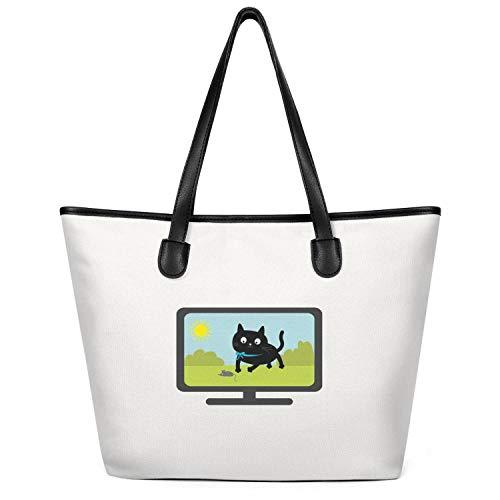 Sdesd Adsd Big Cat Tv 2018 Women's Handbags Canvas Shoulder Bags