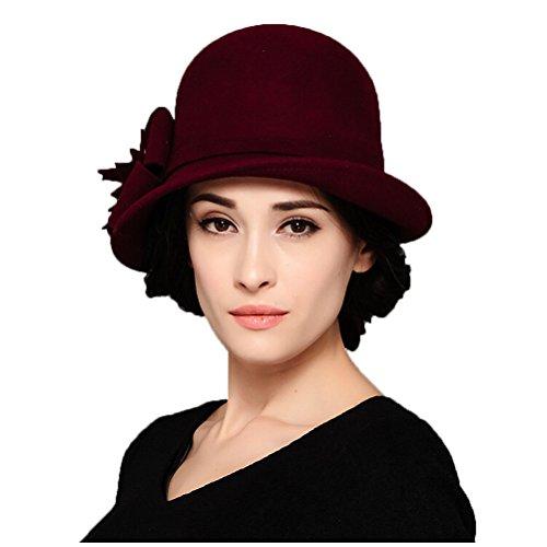 "Maitoseâ""¢ Women's Wool Felt Flowers Church Bowler Hat Purple"