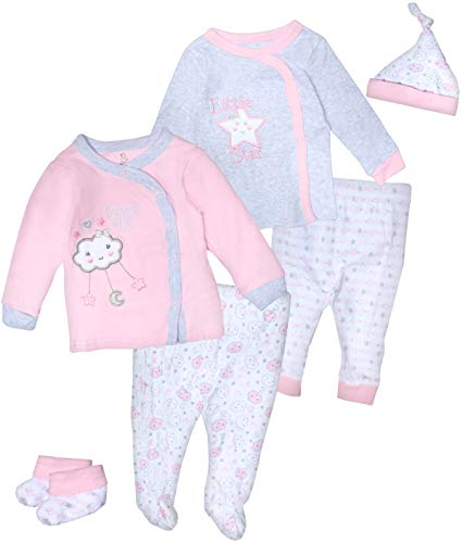 Duck Duck Goose Boys & Girls 6-Piece Cap, Shirt, and Pants Sets, Pink Clouds/Stars, 6-9 Months'