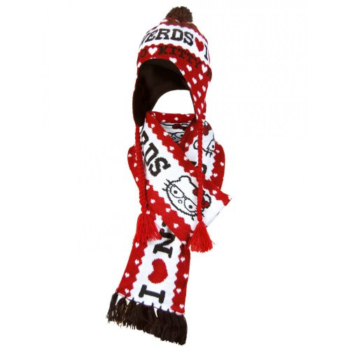 Loungefly Hello Kitty Nerds Scarf & Hat Set (Red/Multi) ()
