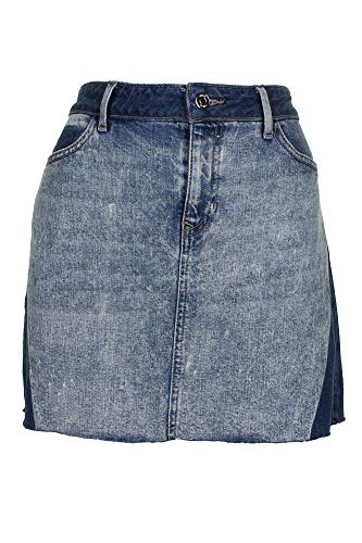 Guess Womens Denim Two Tone Mini Skirt Blue S (Guess Skirt Mini)