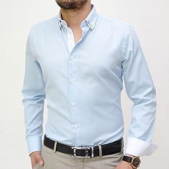 IRMAO Camisa para hombre azul doble Cols Azul azul: Amazon.es: Ropa y accesorios