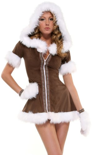 Sexy Eskimo Kisses Costumes (Forplay Women's Eskimo Kisses Adult Sized Costumes, Brown, Small/Medium)