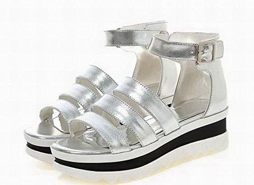 voor open stevige jurk Agoolar met Gmxlb009578 gesp Pu vrouwen sandalen Verzilverd teen O81qHw6