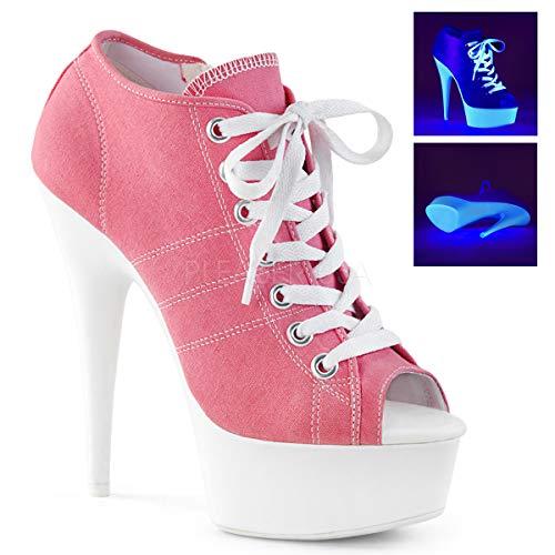 (Pleaser Women's DELIGHT-600SK-01 Sandal Pink Canvas/neon White 7 M US)