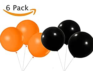 """Halloween Party Decorations - Round Balloons Giant 36"""" Black and Orange (6 pack bundle)"""