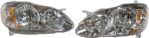 Toyota Corolla (CE, LE) Replacement Headlight Assembly (Chrome) - 1-Pair by AutoLightsBulbs