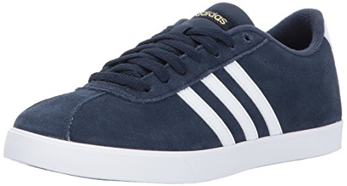 Casual Stripe Sneakers (adidas Women's Shoes | Courtset Sneakers, Collegiate Navy/White/Metallic Gold, (8 M US))
