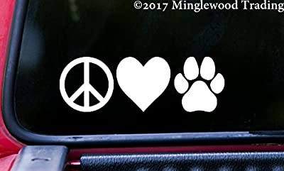 "Minglewood Trading PEACE LOVE PAWPRINT 6"" x 2"" Vinyl Decal Sticker - Dog Cat Puppy Kitten Paw"