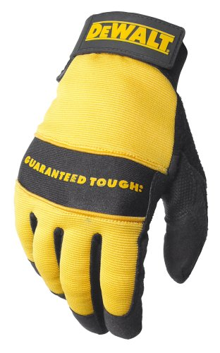Dewalt DPG20M All Purpose Synthetic Leather Palm Spandex Back Velcro Wrist Work Glove, Medium Dewalt Leather