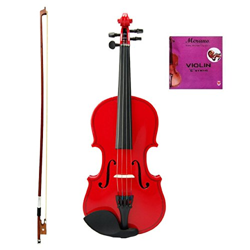 GRACE 1/10 Size Red Acoustic Violin with Case and Bow+Free Rosin+Merano Brand E String by Grace