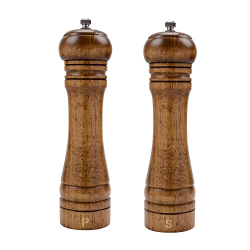 (XQXQ Wood Salt and Pepper Mill Set, Pepper Grinders, Salt Shakers with Adjustable Ceramic Rotor- 8 inches -Pack of 2)