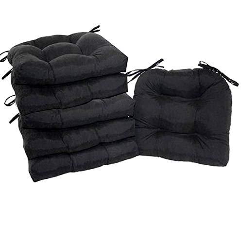 Home Improvements Set of 6 Natural Microfiber Soft Plush Kitchen Dining Chair Pads Cushion (Rich Black)