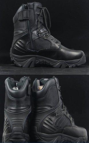 Los hombres del ejército militar táctico al aire libre deporte camping senderismo trabajo combate cordones transpirable alta parte superior con cremallera lateral desierto zapatos de piel botas negro