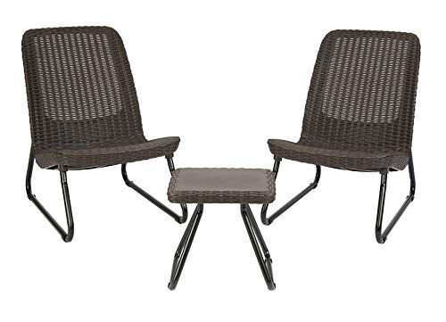 Keter Rio 3 Pc All Weather Outdoor Patio Garden Conversation Chair Table Set Furniture, Brown Renewed