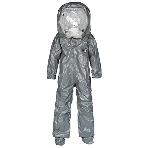 Lakeland ChemMax 3 TES Taped Level B Encapsulated Suit with Expanded Back and Back Entry, Disposable, Elastic Cuff, 3X-Large, Gray