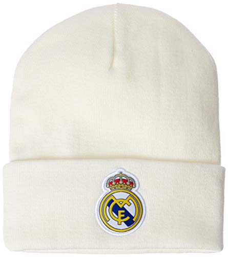 adidas Men Beanie Real Madrid 3 Stripes Football Hat Ronaldo Headwear CY5598 New (One Size (OSFM)) White