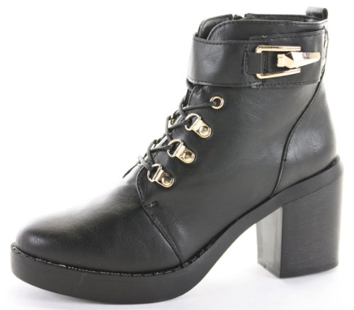 Womens Heeled Booties High Heels Block Shoes Platform Lace up Ankle Boots Size 3 - 8 hVxFw5