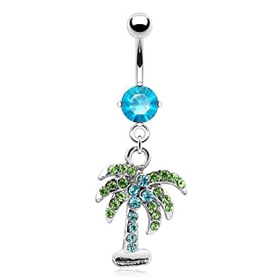 Palm Tree With Clear Pink Or Aqua Gem 14g 316l Stainless Steel Dangle Belly Navel Ring