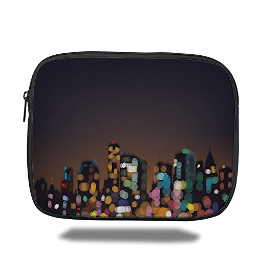 Laptop Sleeve Case,City,Cityscape at Night Abstract Display with Silhouettes with Colorful Dots Bokeh Effect,Multicolor,iPad Bag by iPrint