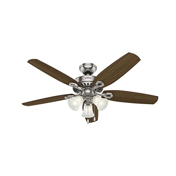 Hunter Indoor Ceiling Fan, with pull chain control - Builder Plus 52 inch, Brushed Nickel, 53237 4 Designed for large rooms up to 485 square feet and equipped with Installer's Choice 3 position mounting system for standard Can be installed with or without 180 watt three light fixture (3 60 watt candelabra bulbs included).An excellent choice for use in the home or office Whisper wind motor. Reversible motor allows you to change the direction of your fan from downdraft mode during the summer to updraft mode during the winter Exclusive Hunter motor technology and hanging system that ensure your fan will remain quiet for Life and wobble free. For indoor use only, Installer's Choice three position mounting system allows for standard, low or angled mounting