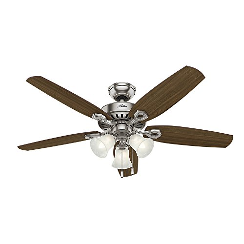 Hunter 53237 Builder Plus 52-Inch Ceiling Fan with Five Brazilian Cherry/Harvest Mahogany Blades and Swirled Marble Glass Light Kit, Brushed Nickel by Hunter Fan Company (Image #3)