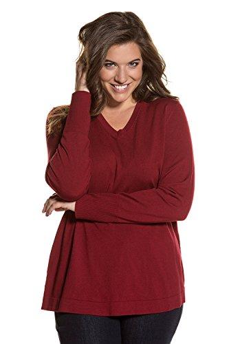 Ulla Popken Women's Plus Size Silky Blend Basic V-Neck Sweater Dark Red 16/18 700315 50
