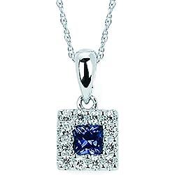 "14K White Gold Blue Sapphire And Diamond Halo Square Pendant Necklace, 18"""