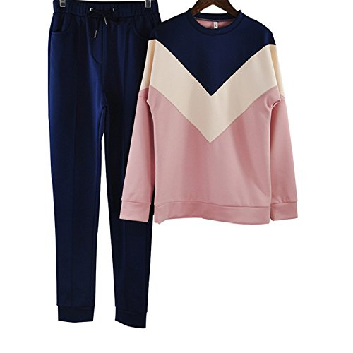 (spyman Color Stitching Tracksuit Round Neck Pullover Sweatshirt and Pant Navy Blue M)